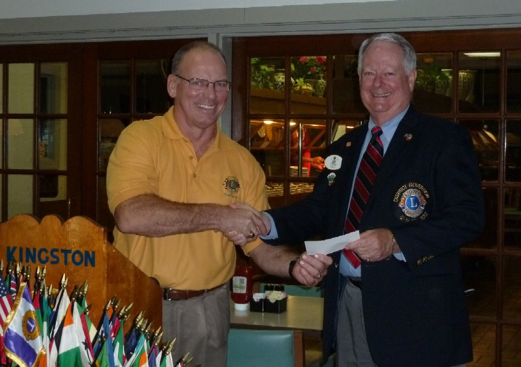 DG Chuck with Kingston Lions Club President Steve Bates, 11/14/2011